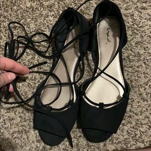 Lace up open toed flats
